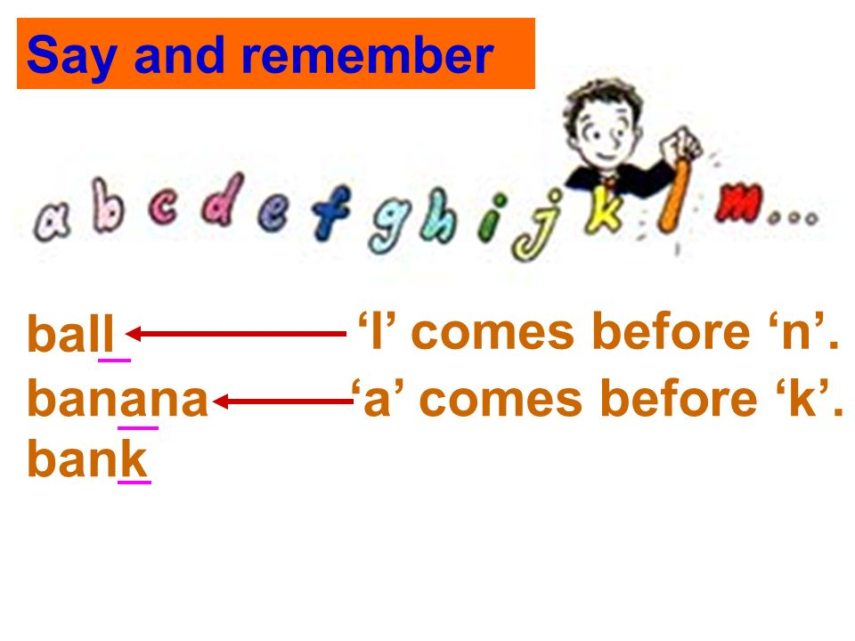 Say and remember l comes before n. a comes before k. ball banana bank