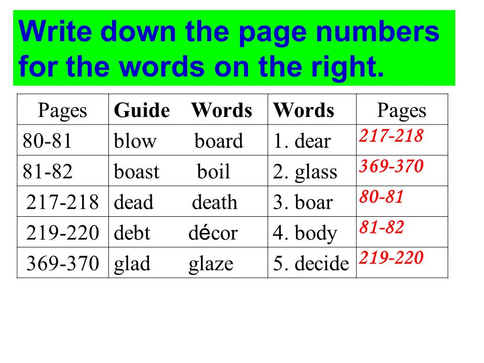 PagesGuide WordsWordsPages 80-81blow board1. dear 81-82boast boil2.