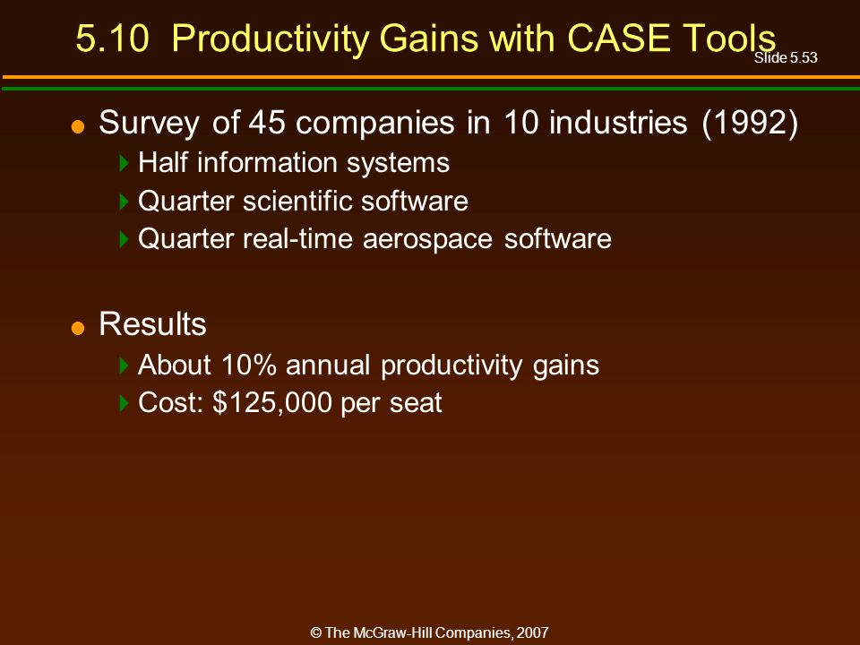 Slide 5.53 © The McGraw-Hill Companies, Productivity Gains with CASE Tools Survey of 45 companies in 10 industries (1992) Half information systems Quarter scientific software Quarter real-time aerospace software Results About 10% annual productivity gains Cost: $125,000 per seat