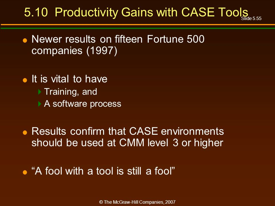 Slide 5.55 © The McGraw-Hill Companies, Productivity Gains with CASE Tools Newer results on fifteen Fortune 500 companies (1997) It is vital to have Training, and A software process Results confirm that CASE environments should be used at CMM level 3 or higher A fool with a tool is still a fool