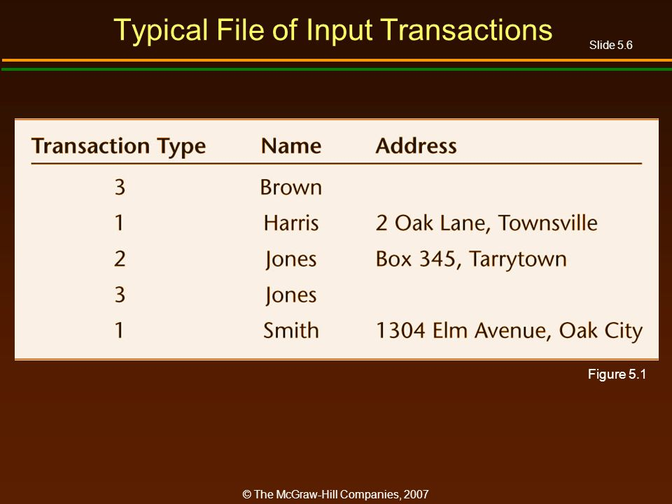 Slide 5.6 © The McGraw-Hill Companies, 2007 Typical File of Input Transactions Figure 5.1
