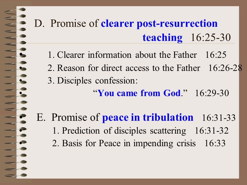 D. Promise of clearer post-resurrection teaching 16:25-30 1.