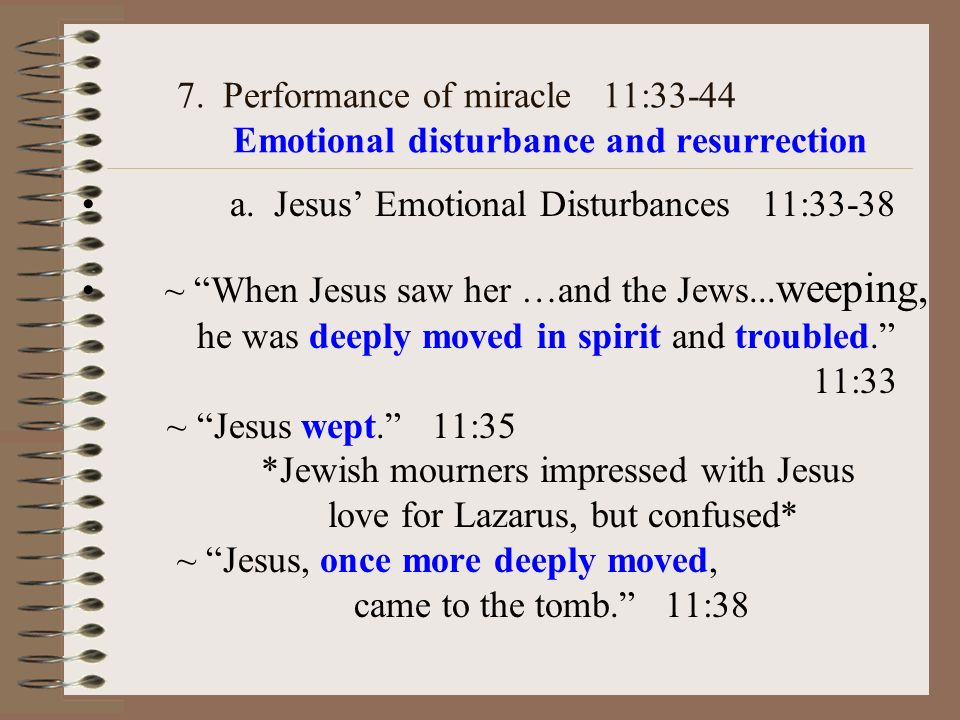 7. Performance of miracle 11:33-44 Emotional disturbance and resurrection a.