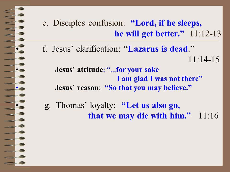 e. Disciples confusion: Lord, if he sleeps, he will get better.