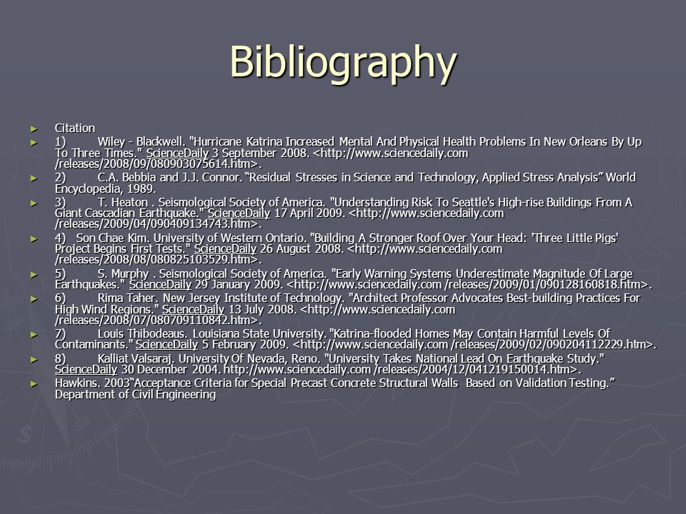 Bibliography Citation Citation 1)Wiley - Blackwell.