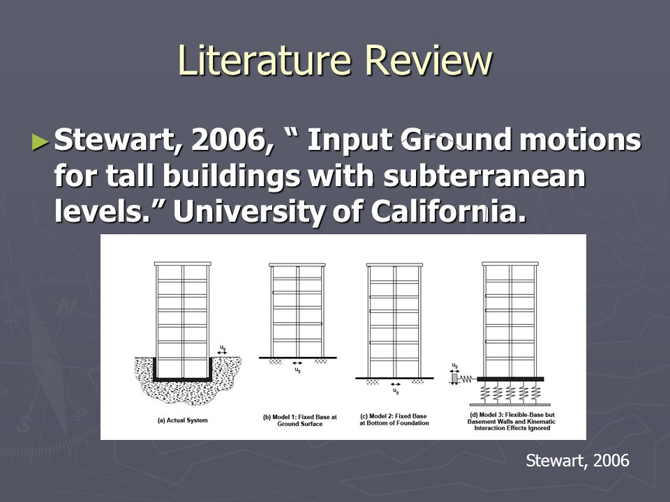 Literature Review Stewart, 2006, Input Ground motions for tall buildings with subterranean levels.
