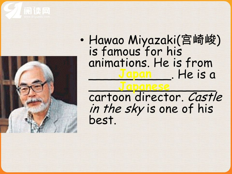 Hawao Miyazaki( ) is famous for his animations. He is from ___________.