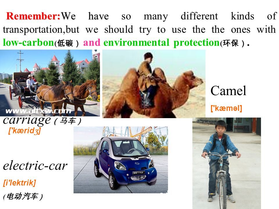 Remember:We have Remember:We have so many different kinds of transportation,but we should try to use the the ones with low-carbon ( and environmental protection (.