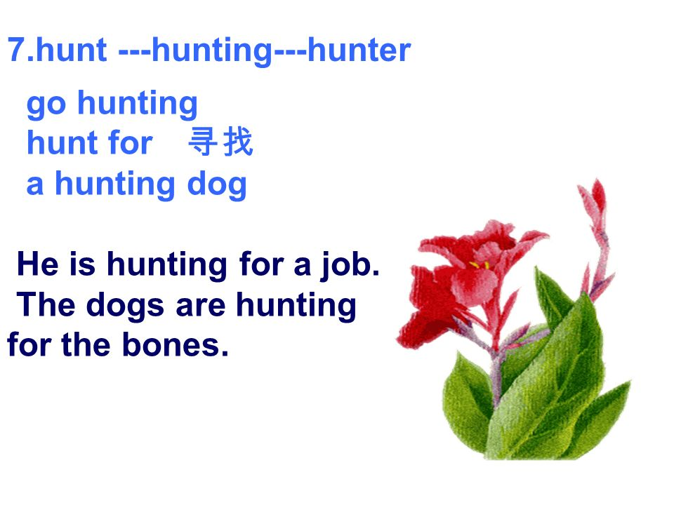 7.hunt ---hunting---hunter go hunting hunt for a hunting dog He is hunting for a job.