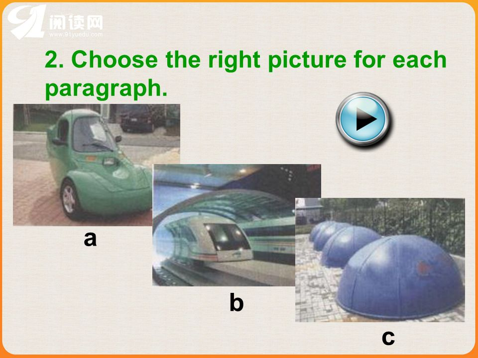 2. Choose the right picture for each paragraph. a b c