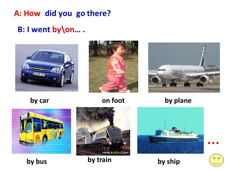 A: How did you go there B: I went by\on…. … on footby carby plane by bus by train by ship