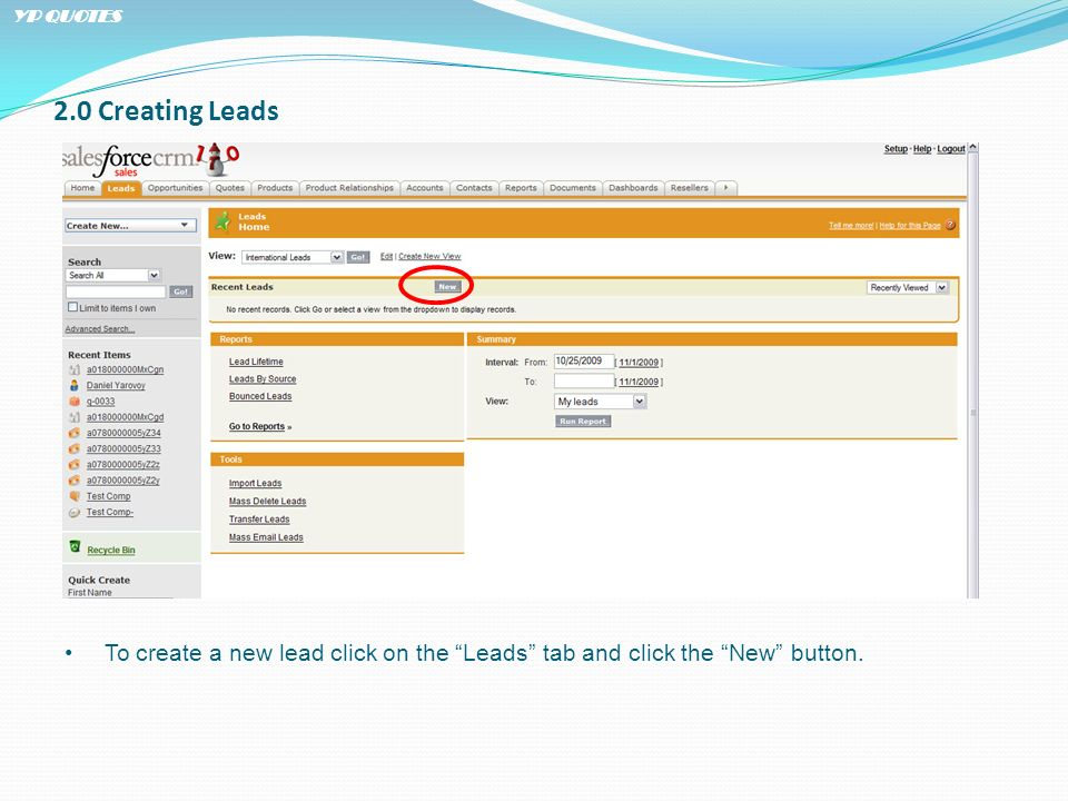 2.0 Creating Leads To create a new lead click on the Leads tab and click the New button. YP QUOTES