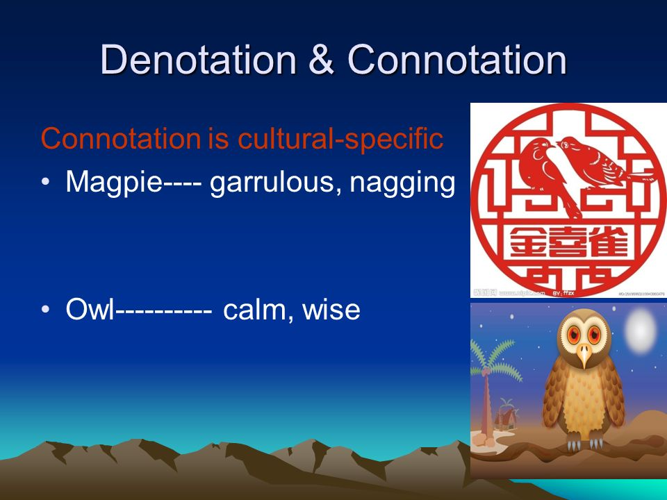 Denotation & Connotation Connotation is cultural-specific Magpie---- garrulous, nagging Owl---------- calm, wise
