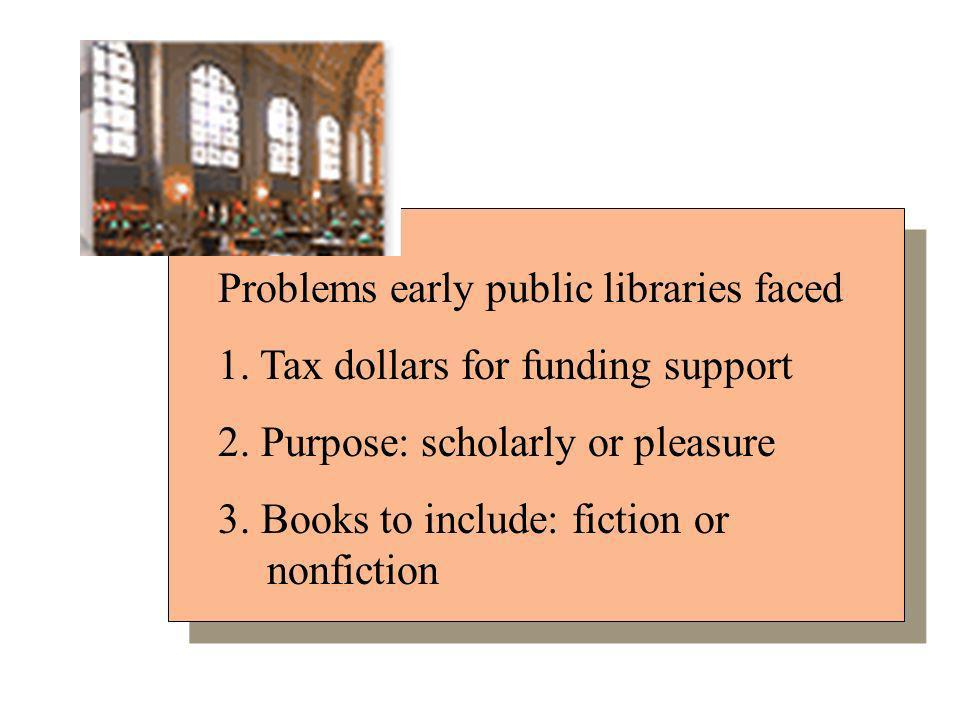 Problems early public libraries faced 1. Tax dollars for funding support 2.
