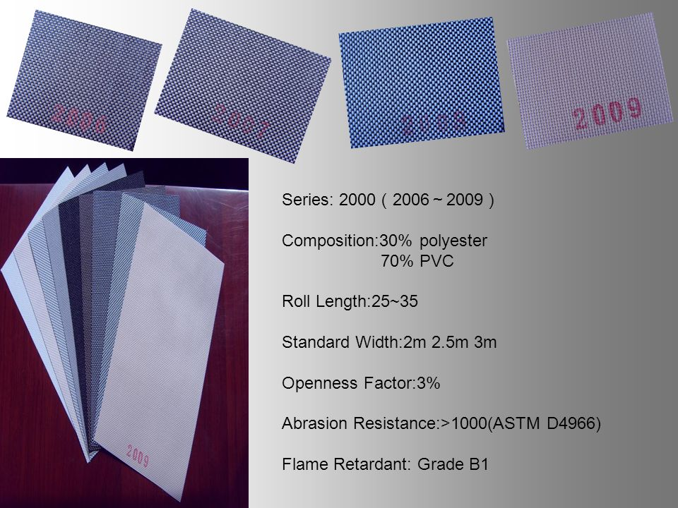 Series: Composition:30% polyester 70% PVC Roll Length:25~35 Standard Width:2m 2.5m 3m Openness Factor:3% Abrasion Resistance:>1000(ASTM D4966) Flame Retardant: Grade B1