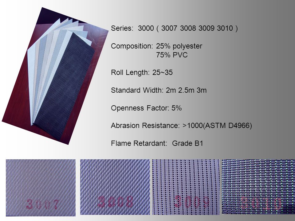 Series: Composition: 25% polyester 75% PVC Roll Length: 25~35 Standard Width: 2m 2.5m 3m Openness Factor: 5% Abrasion Resistance: >1000(ASTM D4966) Flame Retardant: Grade B1