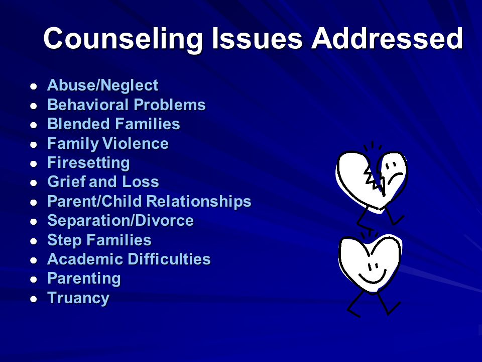 Counseling Issues Addressed Abuse/Neglect Abuse/Neglect Behavioral Problems Behavioral Problems Blended Families Blended Families Family Violence Family Violence Firesetting Firesetting Grief and Loss Grief and Loss Parent/Child Relationships Parent/Child Relationships Separation/Divorce Separation/Divorce Step Families Step Families Academic Difficulties Academic Difficulties Parenting Parenting Truancy Truancy