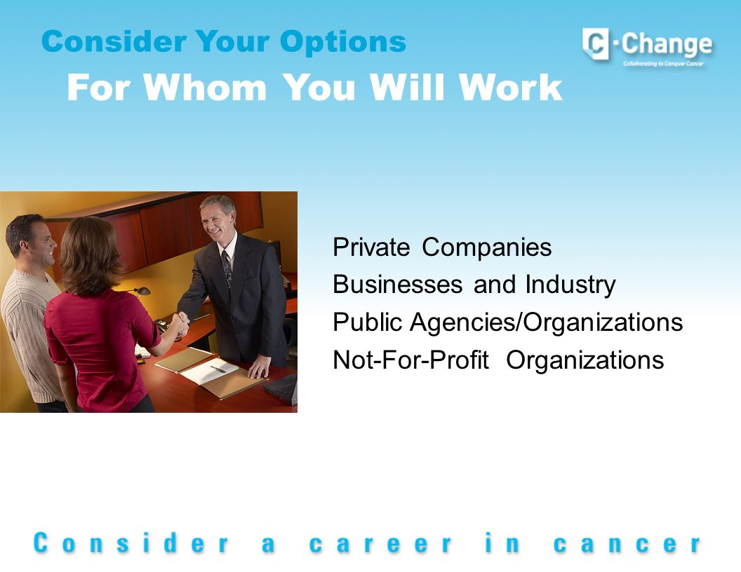 Consider Your Options For Whom You Will Work Private Companies Businesses and Industry Public Agencies/Organizations Not-For-Profit Organizations