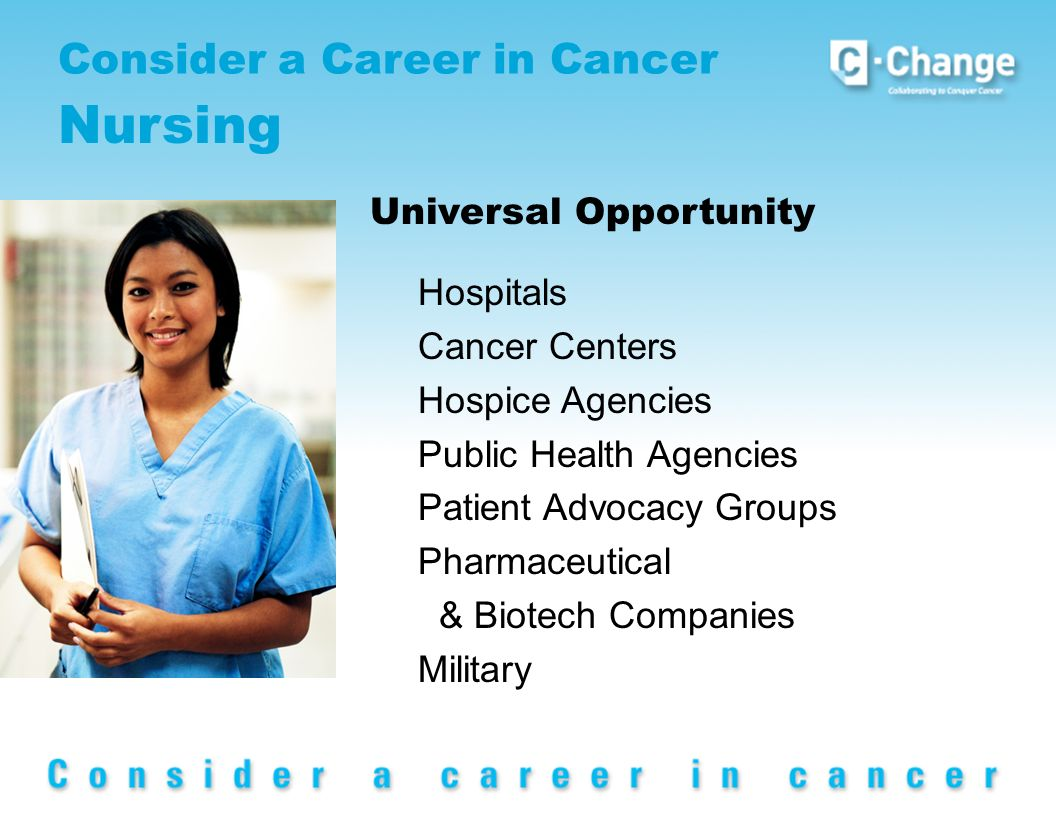 Consider a Career in Cancer Nursing Universal Opportunity Hospitals Cancer Centers Hospice Agencies Public Health Agencies Patient Advocacy Groups Pharmaceutical & Biotech Companies Military