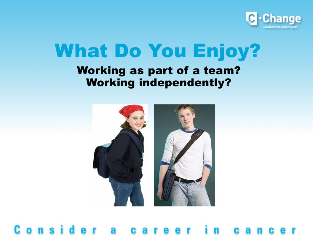 What Do You Enjoy Working as part of a team Working independently