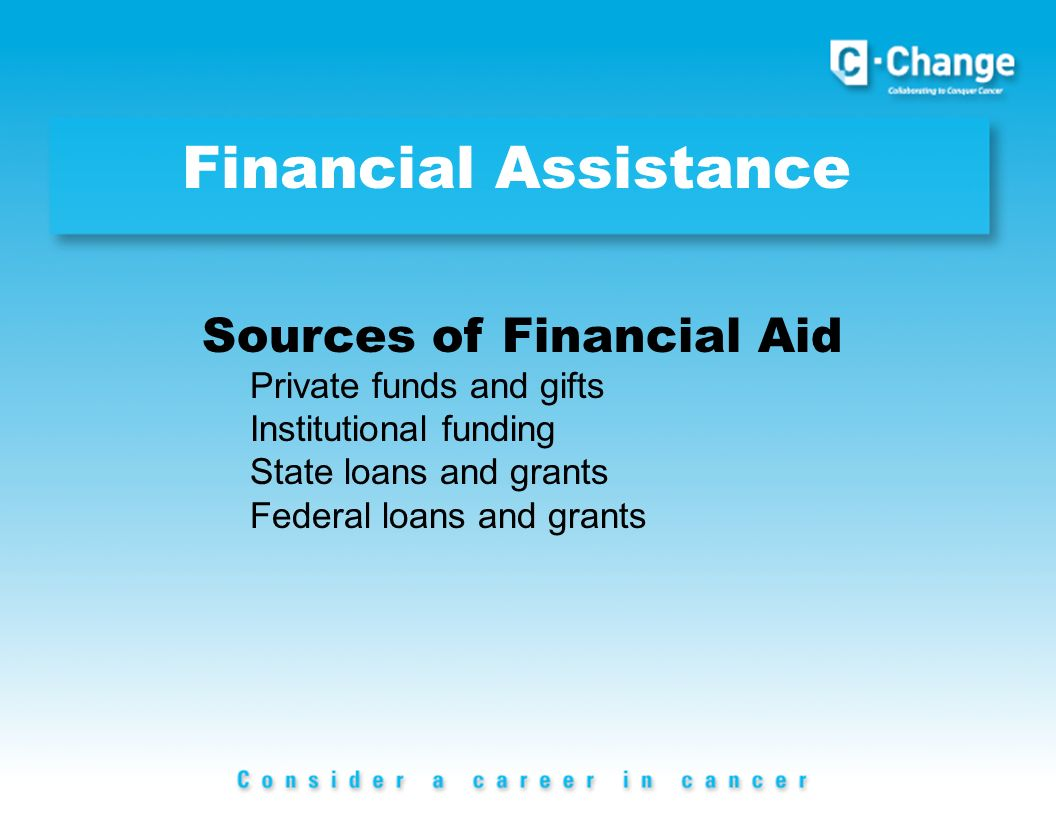 Financial Assistance Sources of Financial Aid Private funds and gifts Institutional funding State loans and grants Federal loans and grants