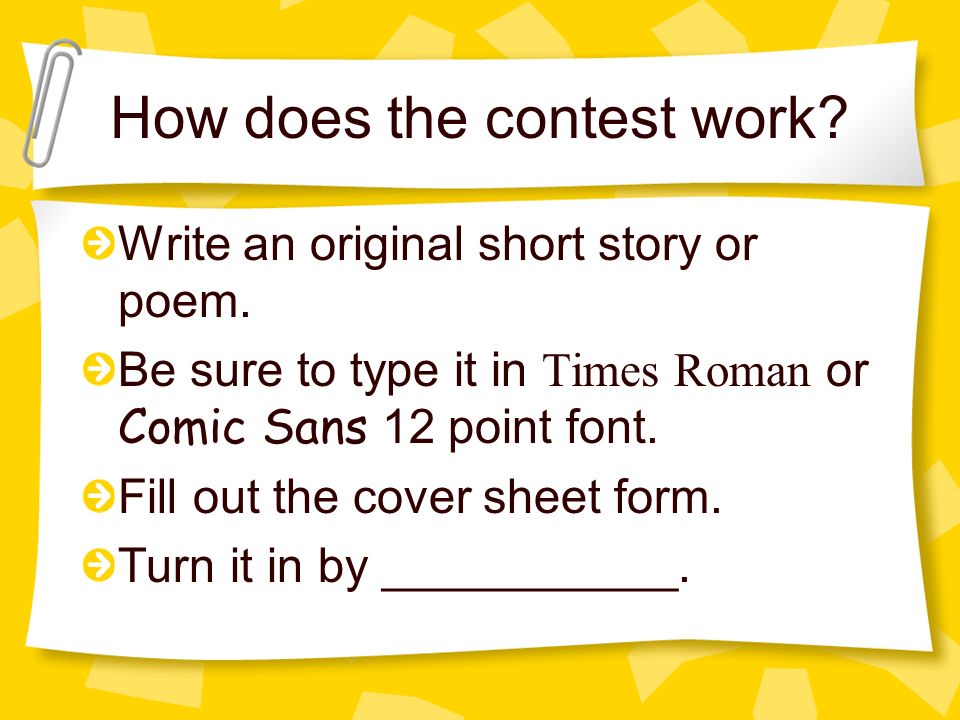 How does the contest work. Write an original short story or poem.