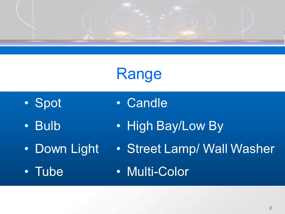 2 Range Spot Bulb Down Light Tube Candle High Bay/Low By Street Lamp/ Wall Washer Multi-Color