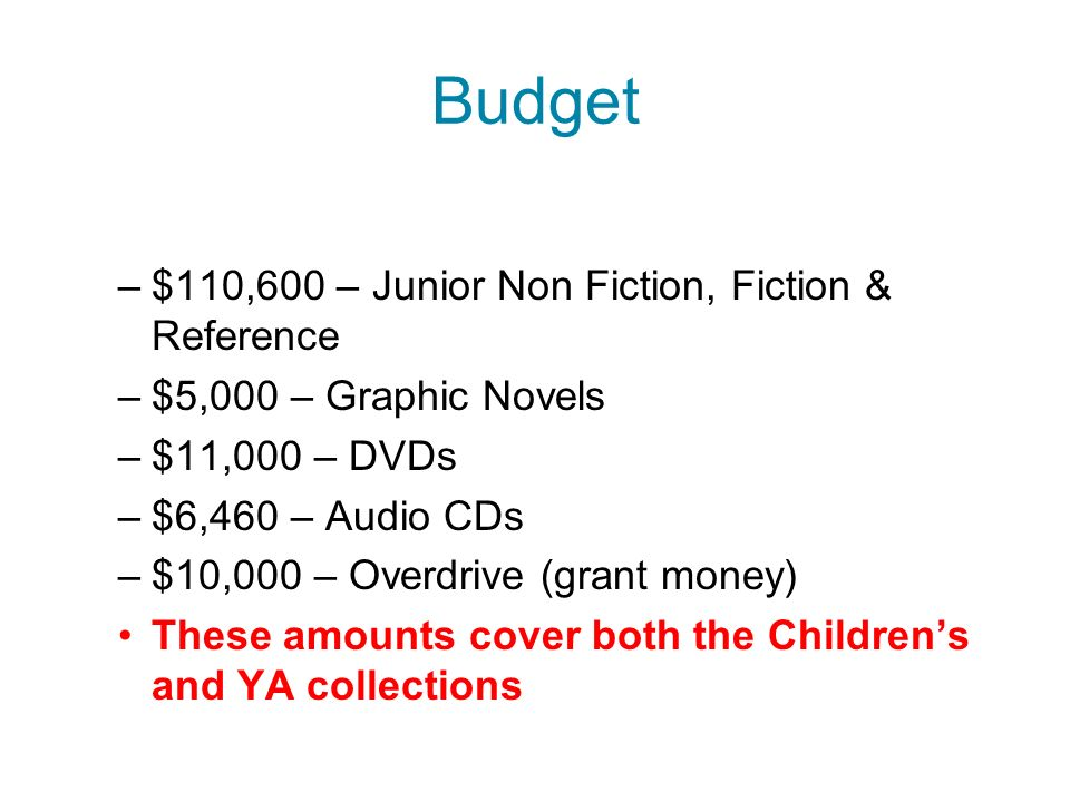 Budget –$110,600 – Junior Non Fiction, Fiction & Reference –$5,000 – Graphic Novels –$11,000 – DVDs –$6,460 – Audio CDs –$10,000 – Overdrive (grant money) These amounts cover both the Childrens and YA collections
