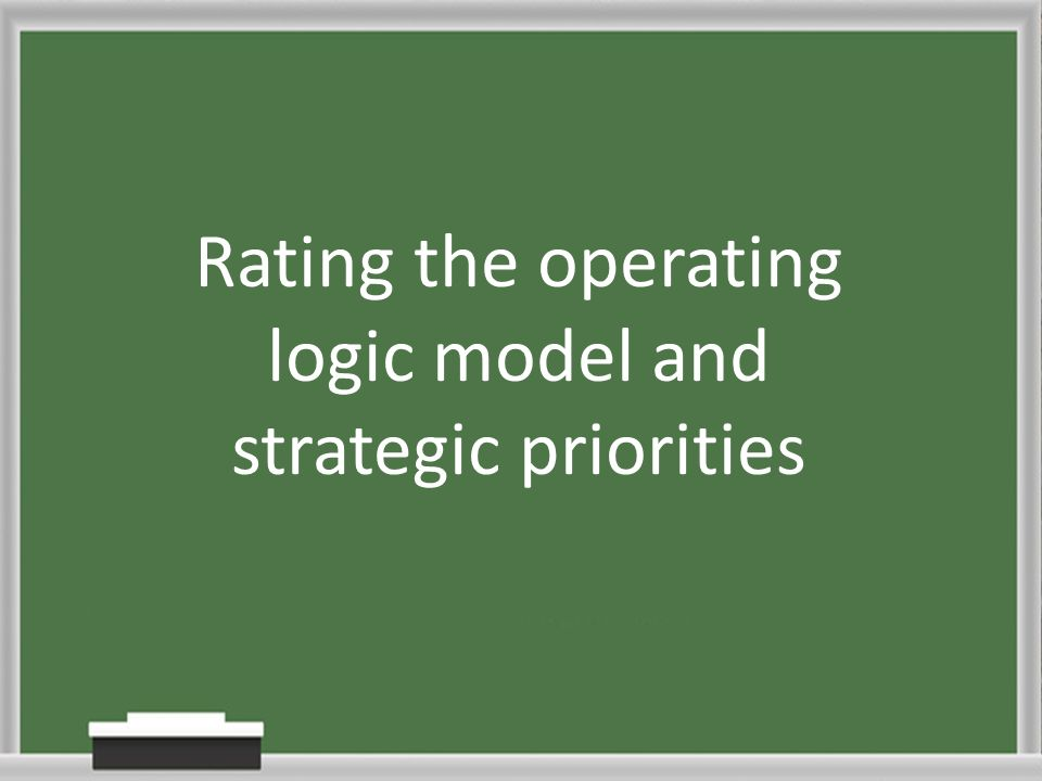 Rating the operating logic model and strategic priorities