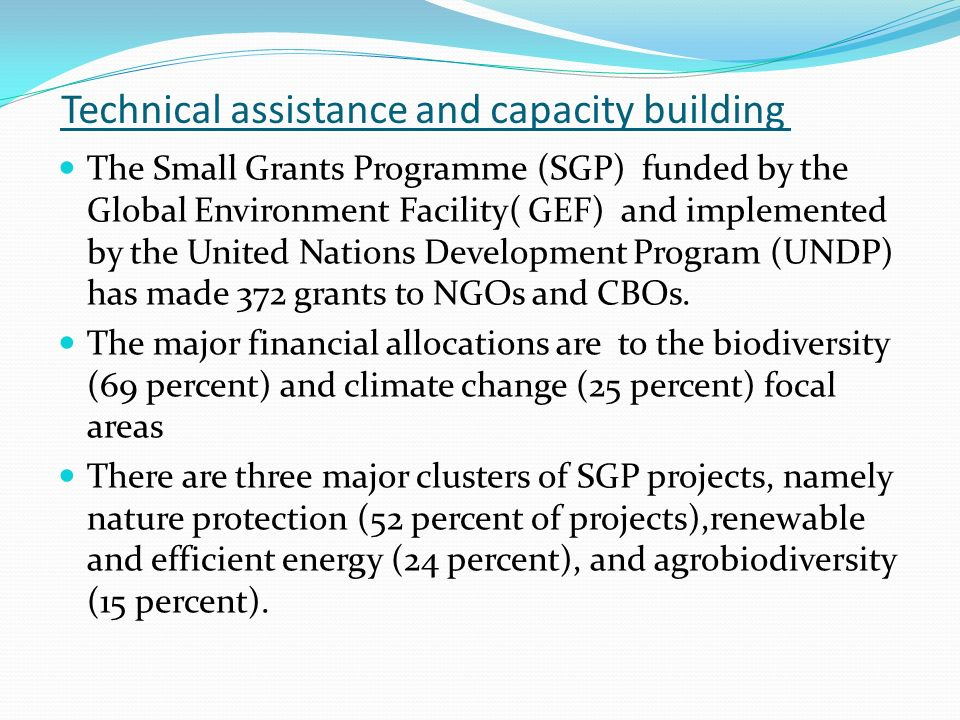 Technical assistance and capacity building The Small Grants Programme (SGP) funded by the Global Environment Facility( GEF) and implemented by the United Nations Development Program (UNDP) has made 372 grants to NGOs and CBOs.