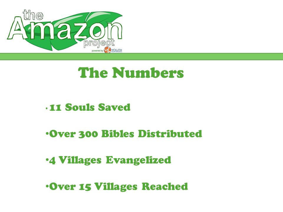 The Numbers 11 Souls Saved Over 300 Bibles Distributed 4 Villages Evangelized Over 15 Villages Reached