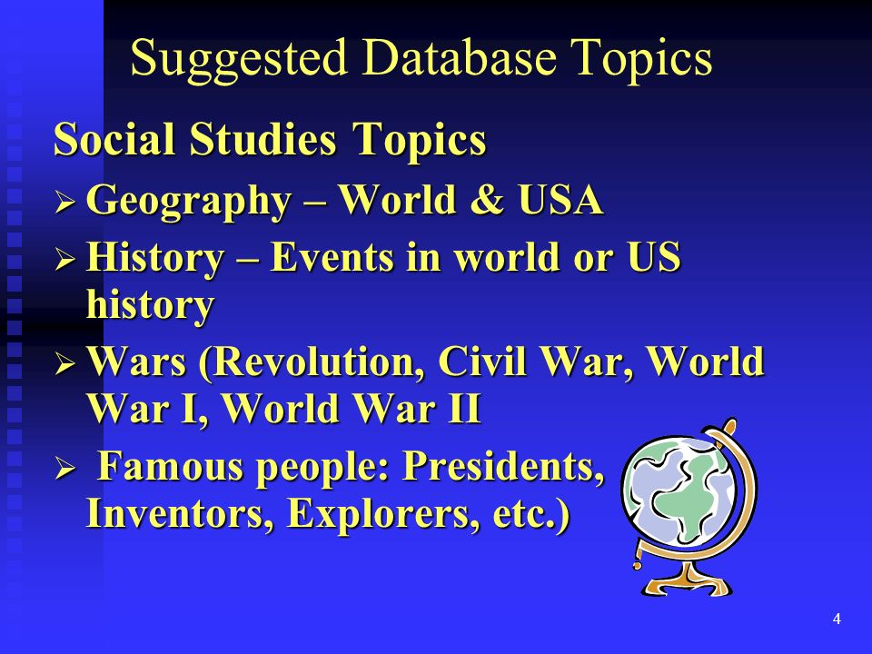 4 Suggested Database Topics Social Studies Topics Geography – World & USA Geography – World & USA History – Events in world or US history History – Events in world or US history Wars (Revolution, Civil War, World War I, World War II Wars (Revolution, Civil War, World War I, World War II Famous people: Presidents, Inventors, Explorers, etc.) Famous people: Presidents, Inventors, Explorers, etc.)