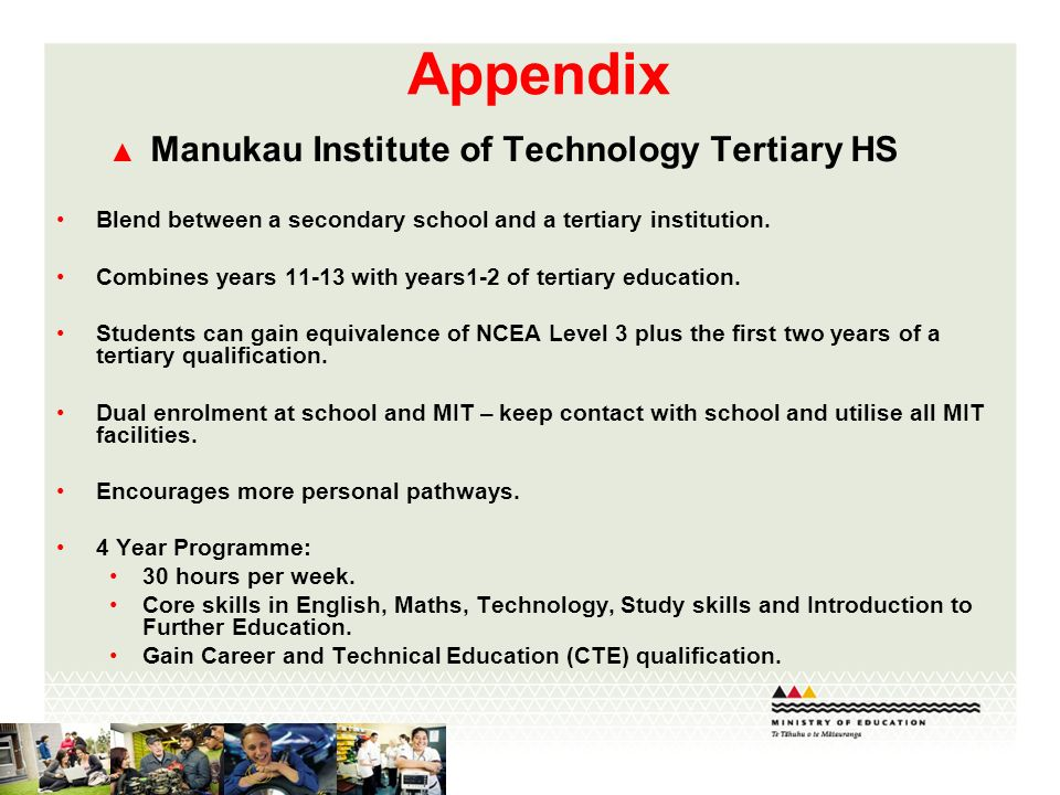 Appendix Manukau Institute of Technology Tertiary HS Blend between a secondary school and a tertiary institution.