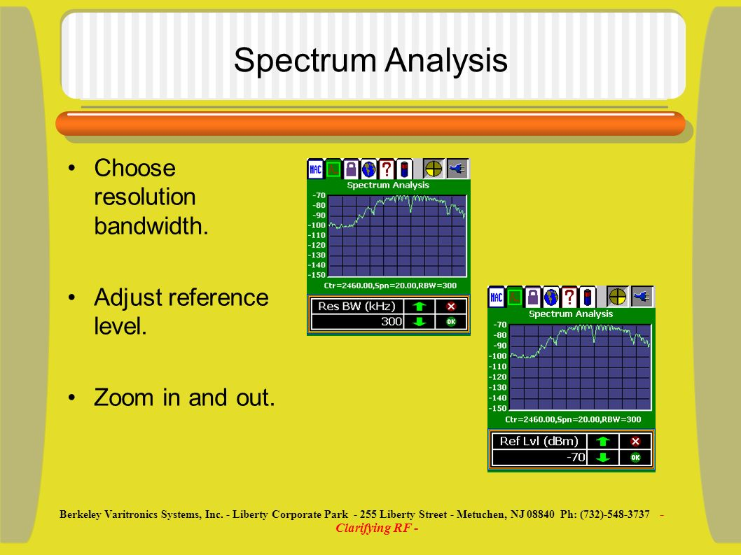 Spectrum Analysis Choose resolution bandwidth. Adjust reference level.