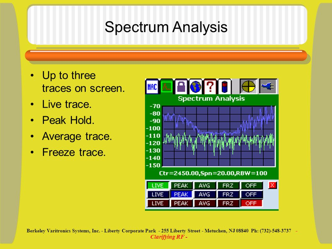 Spectrum Analysis Up to three traces on screen. Live trace.