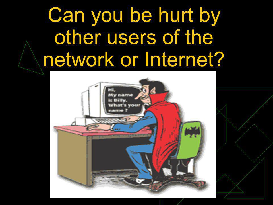 Can you be hurt by other users of the network or Internet