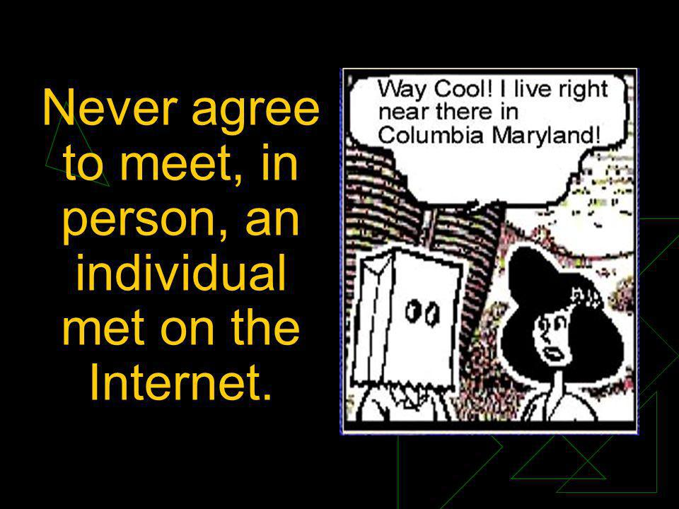 Never agree to meet, in person, an individual met on the Internet.