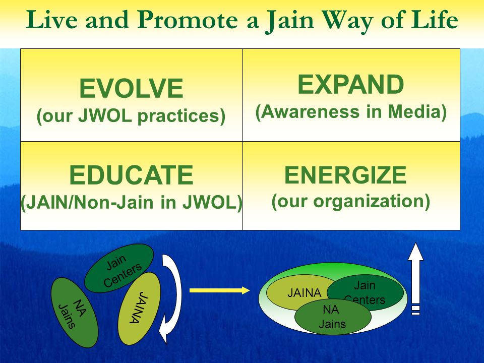 33 Live and Promote a Jain Way of Life JAINA Jain Centers NA Jains JAINA Jain Centers NA Jains EXPAND (Awareness in Media) EVOLVE (our JWOL practices) ENERGIZE (our organization) EDUCATE (JAIN/Non-Jain in JWOL)