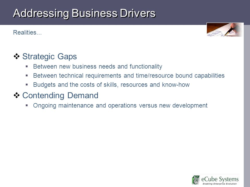 Addressing Business Drivers Realities...