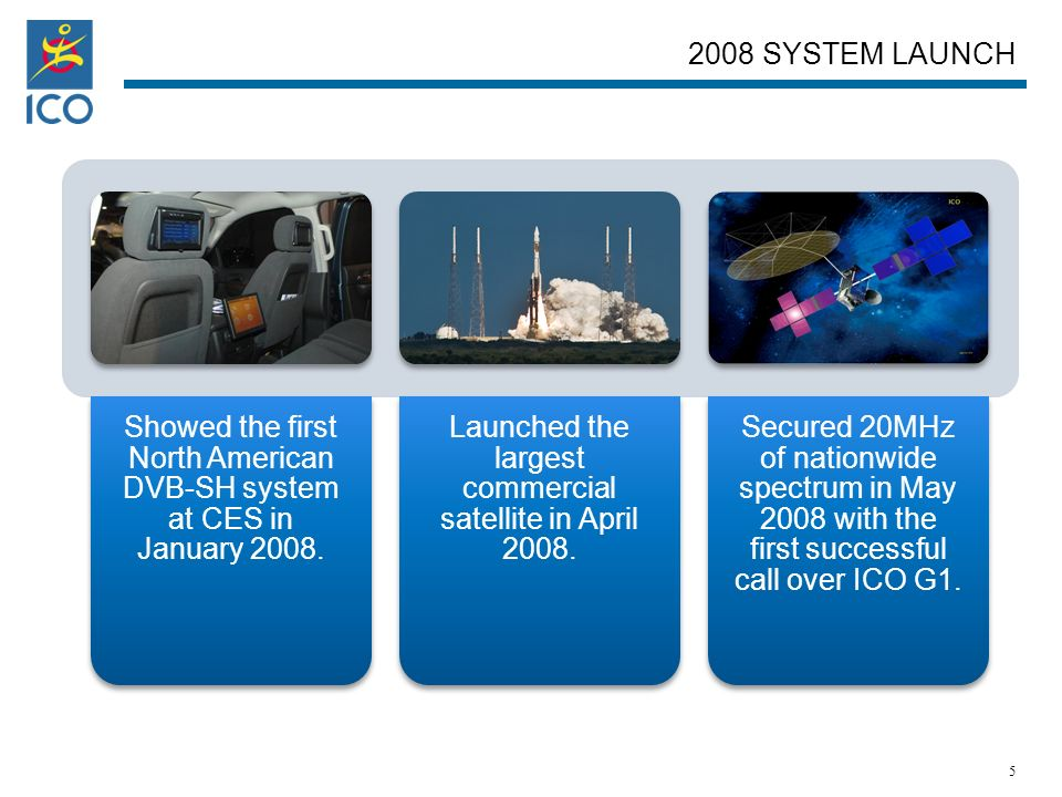 ICO GLOBAL COMMUNICATIONS A $1.2B COMPANY (NASDAQ: ICOG) Showed the first North American DVB-SH system at CES in January 2008.