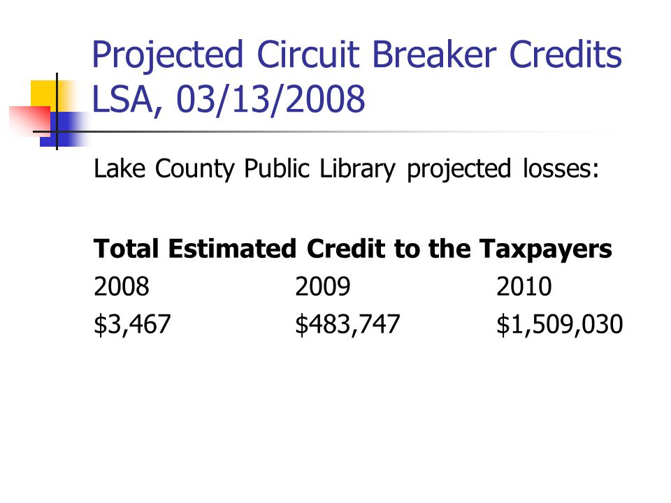 Projected Circuit Breaker Credits LSA, 03/13/2008 Lake County Public Library projected losses: Total Estimated Credit to the Taxpayers $3,467$483,747$1,509,030