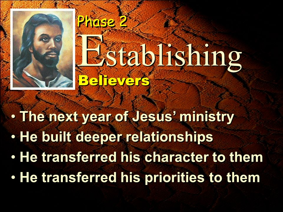The next year of Jesus ministry He built deeper relationships He transferred his character to them He transferred his priorities to them The next year of Jesus ministry He built deeper relationships He transferred his character to them He transferred his priorities to them stablishing E E Phase 2 Believers