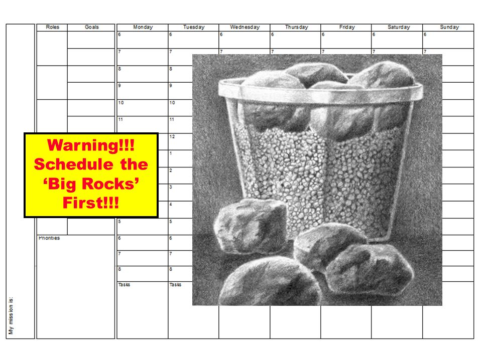 Warning!!! Schedule the Big Rocks First!!!