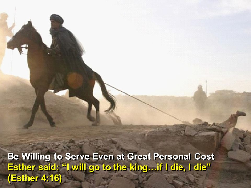 Be Willing to Serve Even at Great Personal Cost Esther said: I will go to the king…if I die, I die (Esther 4:16) Be Willing to Serve Even at Great Personal Cost Esther said: I will go to the king…if I die, I die (Esther 4:16)