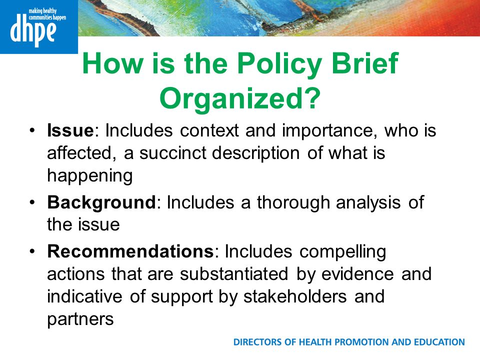 How is the Policy Brief Organized.