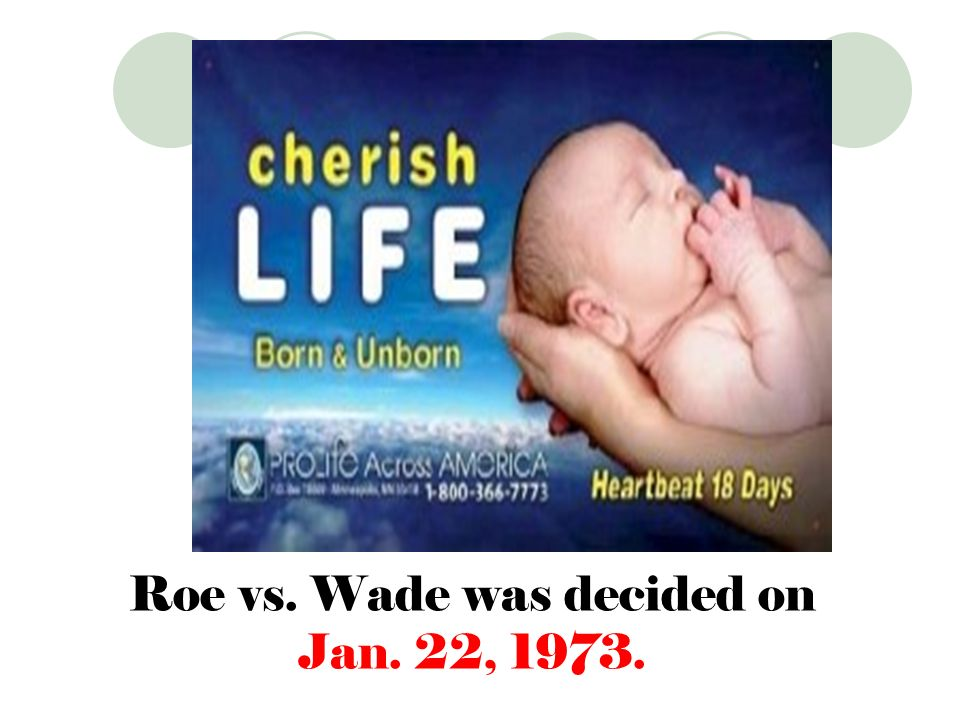 Roe vs. Wade was decided on Jan. 22, 1973.
