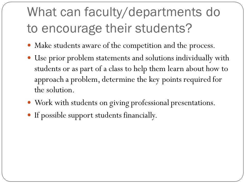 What can faculty/departments do to encourage their students.
