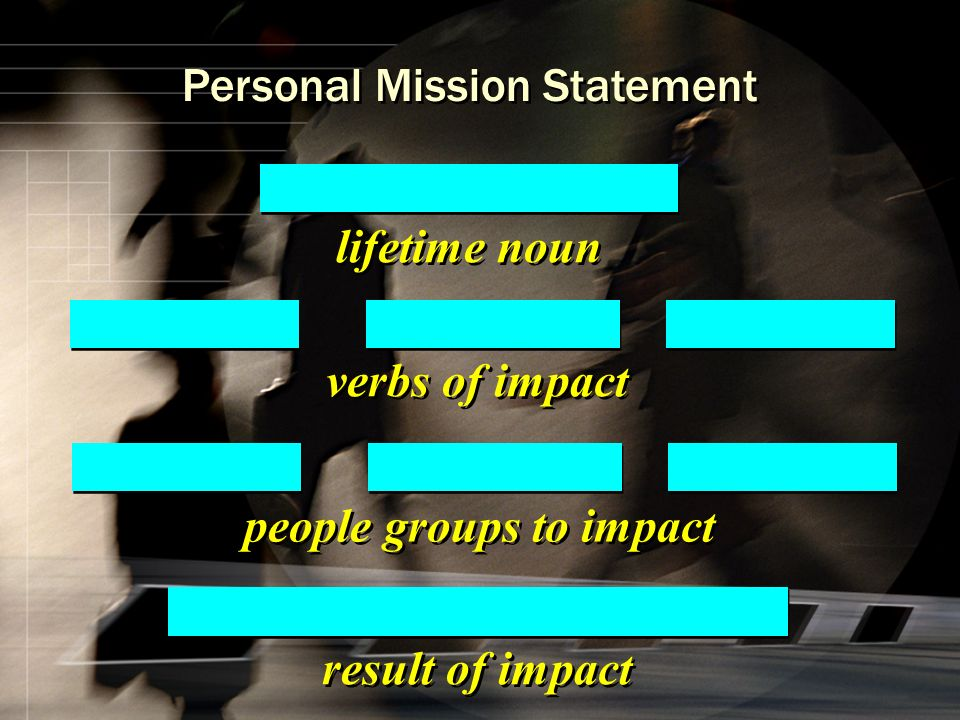 verbs of impact lifetime noun result of impact people groups to impact Personal Mission Statement