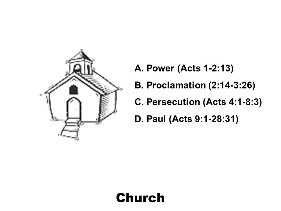 Church A. Power (Acts 1-2:13) B. Proclamation (2:14-3:26) C.