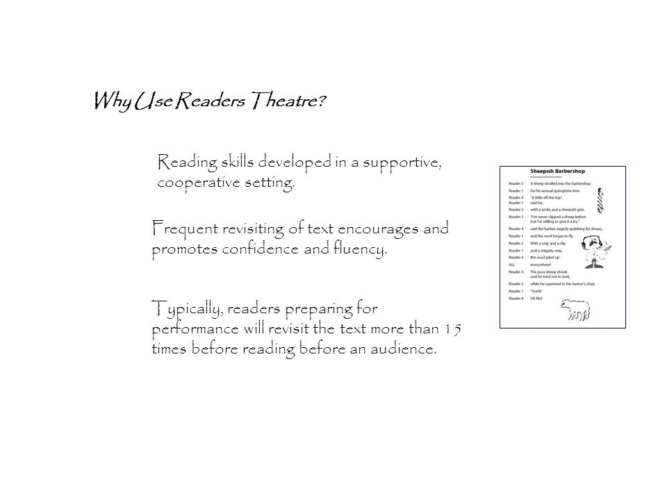 Why Use Readers Theatre. Reading skills developed in a supportive, cooperative setting.
